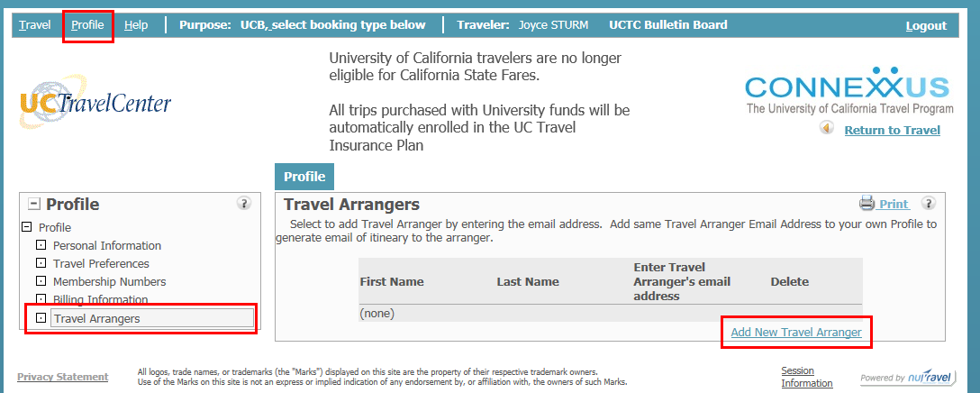 uc travel center arranger screenshot